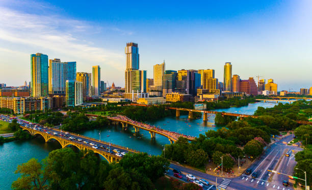 Colorful Cityscape Austin stock photo