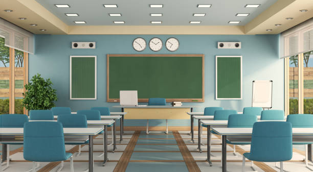 Colorful classroom without student stock photo