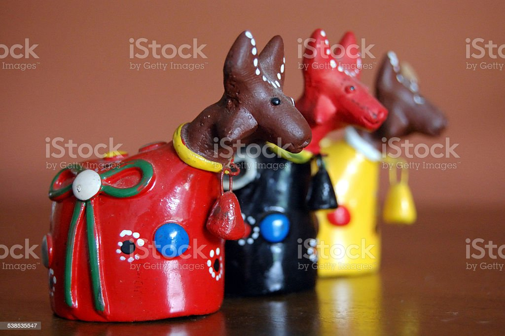 Colorful Clay Bulls stock photo