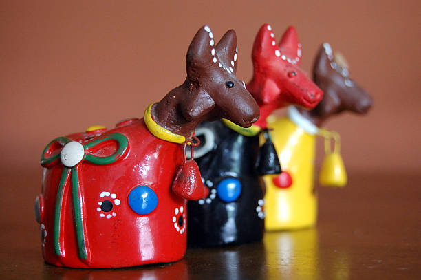 Colorful Clay Bulls Little colorful bulls made of clay craft product stock pictures, royalty-free photos & images