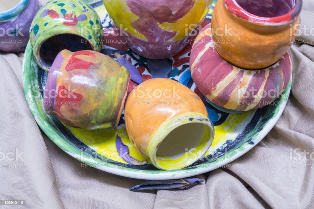Colorful clay pitcher stock photo