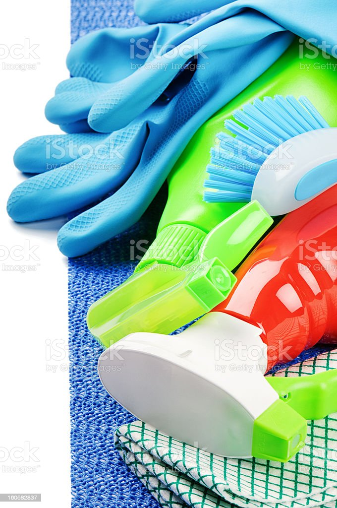 Colorful cleaning products royalty-free stock photo