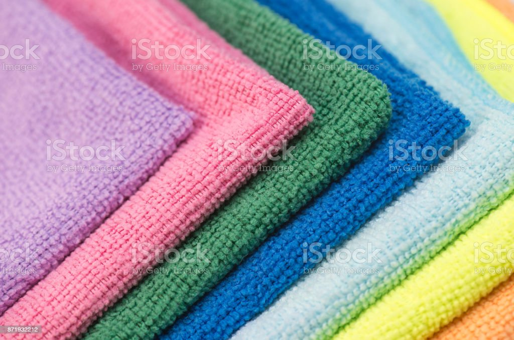 Colorful cleaning rag microfiber cloth isolated on white stock photo