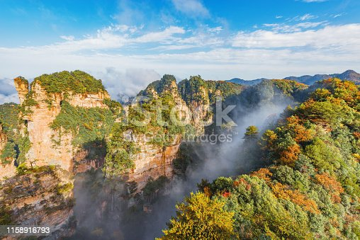 Colorful cliffs in Zhangjiajie Forest Park at sunny foggy morning time. China.