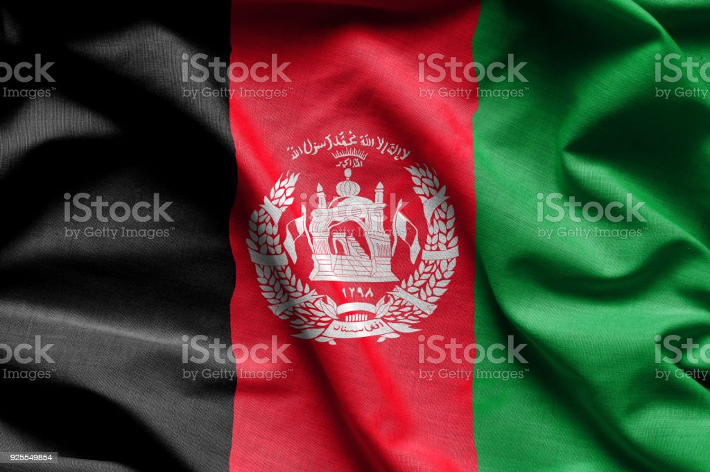 Colorful, closeup, wavy flag of Afghanistan stock photo
