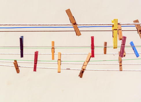 Colorful Clothespins On A Clothesline Stock Photo ...