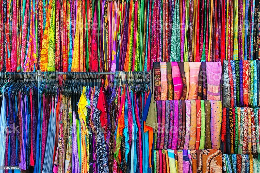 Colorful clothing fabrics and sarongs at Ubud market stock photo