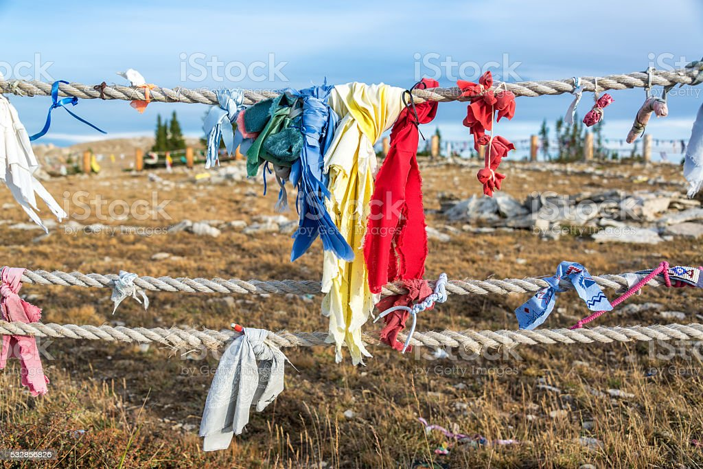 Colorful cloths at Medicine Wheel stock photo