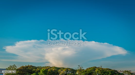 529114076 istock photo Colorful clouds against clear sky 672109742