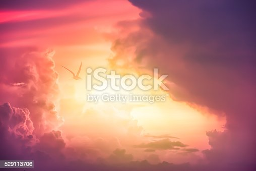 istock Colorful clouds on the dramatic sunset sky 529113706
