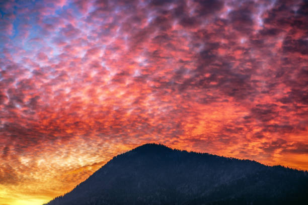 Colorful clouds on the sky during sunset stock photo