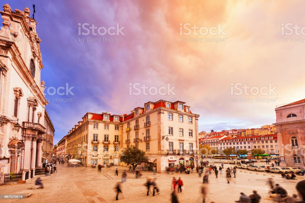 Colorful Clouds over Downtown Lisbon Portugal stock photo
