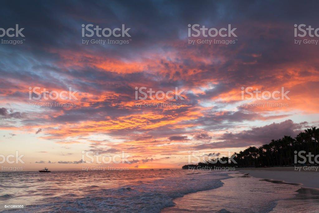 Colorful cloudscape, Caribbean sunrise stock photo