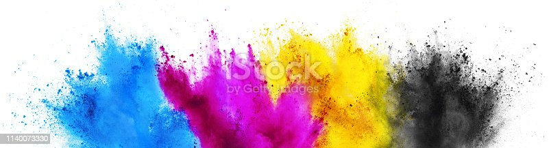 1140073628 istock photo colorful CMYK cyan magenta yellow key holi paint color powder explosion print concept isolated white background 1140073330