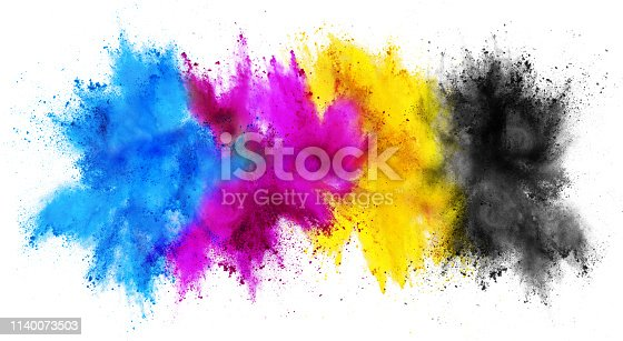 504797668 istock photo colorful CMYK cyan magenta yellow key holi paint color powder explosion print concept isolated white background 1140073503