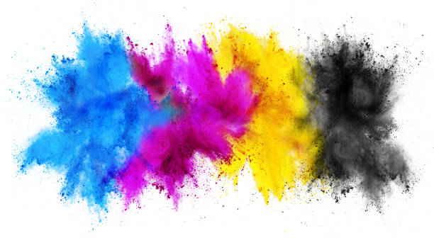 colorful CMYK cyan magenta yellow key holi paint color powder explosion print concept isolated white background colorful CMYK cyan magenta yellow key holi paint color powder explosion print concept isolated on white background colored powder stock pictures, royalty-free photos & images