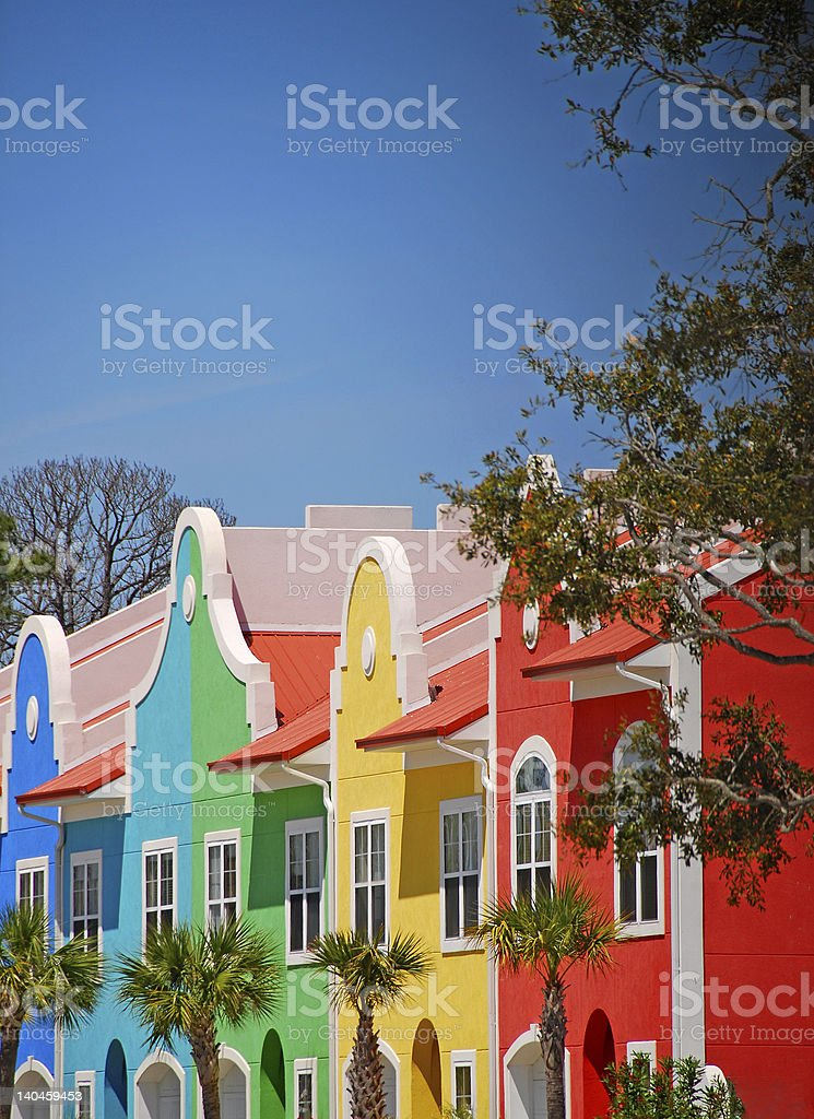 Colorful Coastal Townhomes stock photo