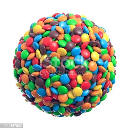 Colorful coated chocolate candies in the shape of a sphere. 3d illustration
