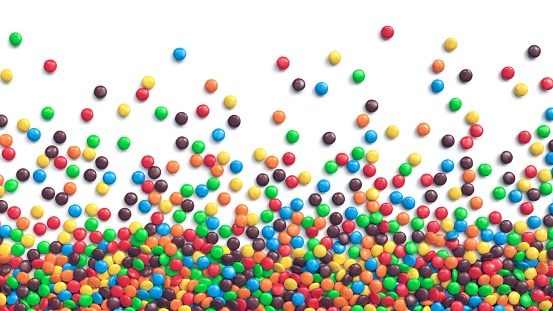 Colorful coated chocolate candies scattered on white background. 3d rendering