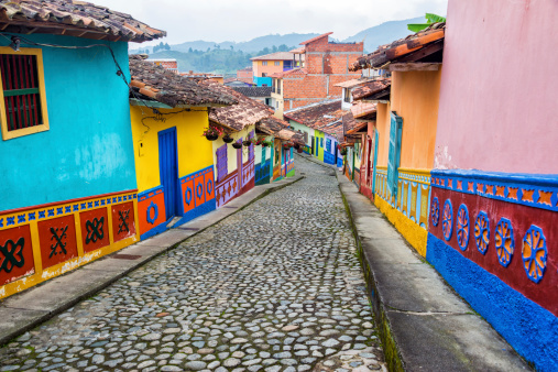 Colorful Cobblestone Street Stock Photo - Download Image Now