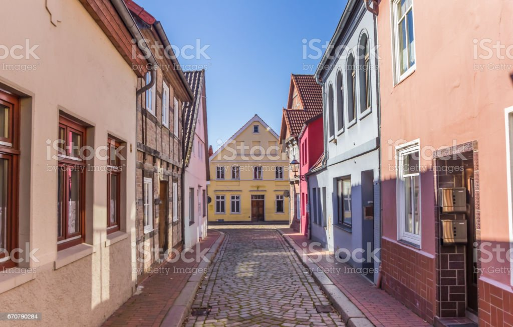 Colorful cobblestoned in the center of Verden, Germany stock photo