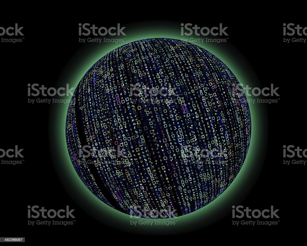 Colorful code matrix planet royalty-free stock photo