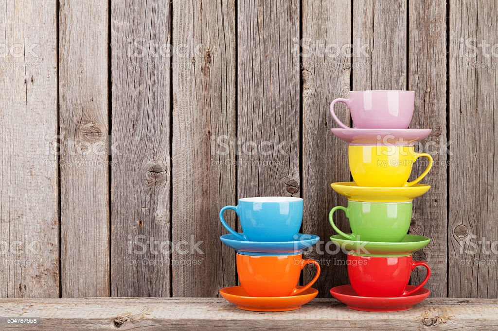 colorful coffee cups on shelf stock photo more pictures of