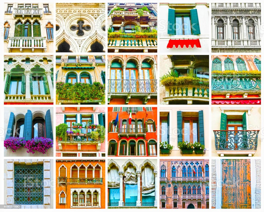 Colorful Collage Made Of Windows From Venice Italy Stock