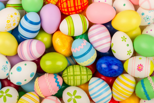 many coloful easter eggs