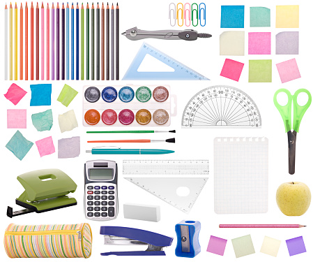 Different office or school supplies isolated. Montage.