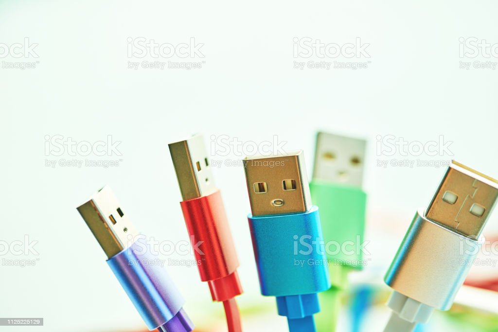 Colorful collection of USB charging cables
