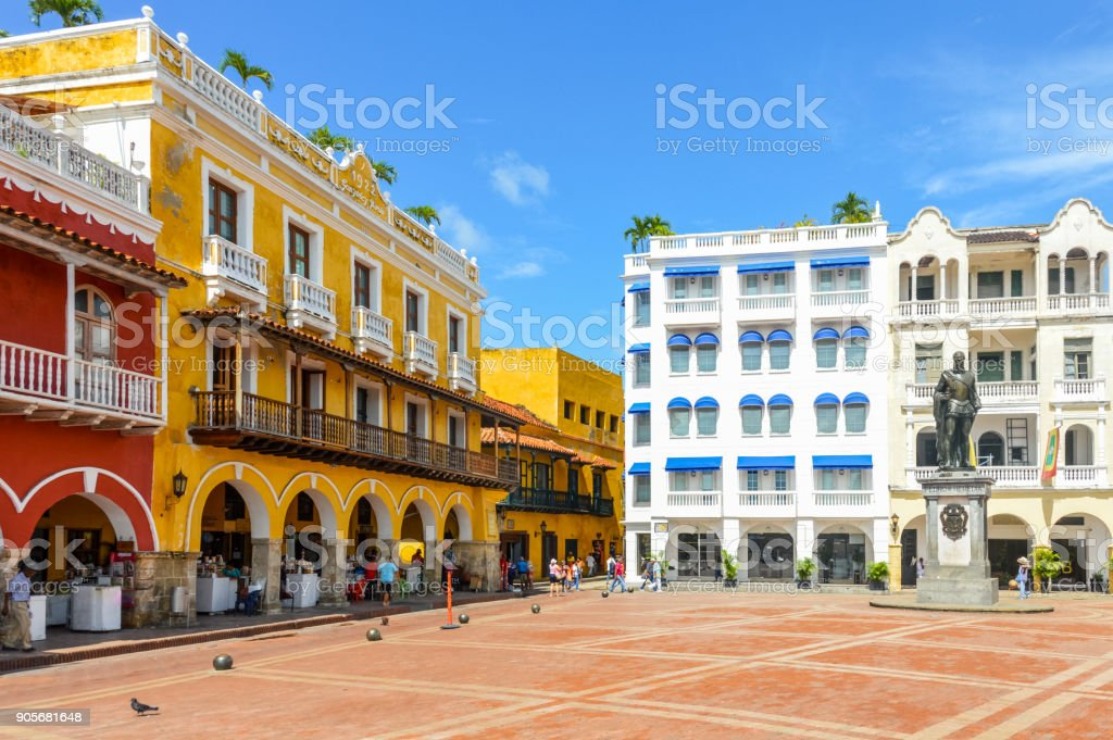 Colorful colonial architecture in Cartagena, Colombia stock photo