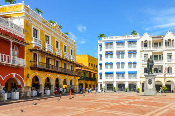 colorful colonial architecture in cartagena, colombia - colombia stock photos and pictures