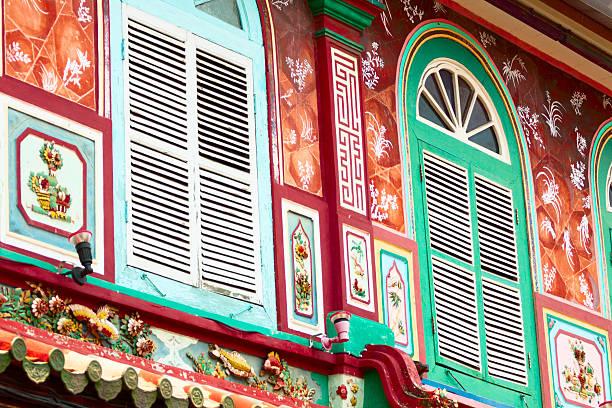 colorful colonial architecture - malakka staat stockfoto's en -beelden