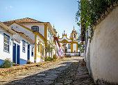 Colorful colonial houses and Santo Antonio church - Tiradentes, Minas Gerais, Brazil