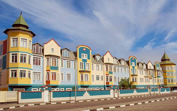 Colorful colonial houses in Swakopmund Colorful colonial houses in Swakopmund, Namibia namibia stock pictures, royalty-free photos & images