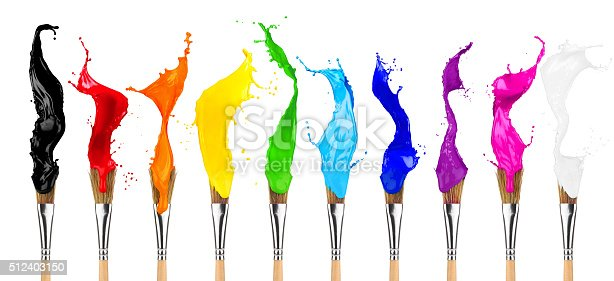 istock colorful color splash paintbrush row 512403150