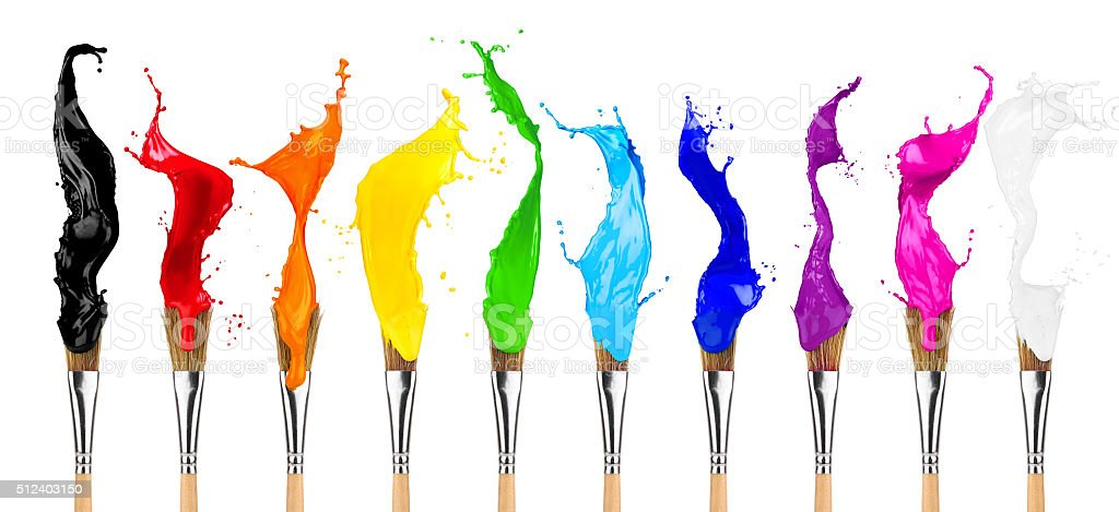 colorful color splash paintbrush row stock photo