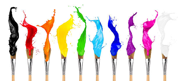 colorful color splash paintbrush row - isolated colour stock photos and pictures
