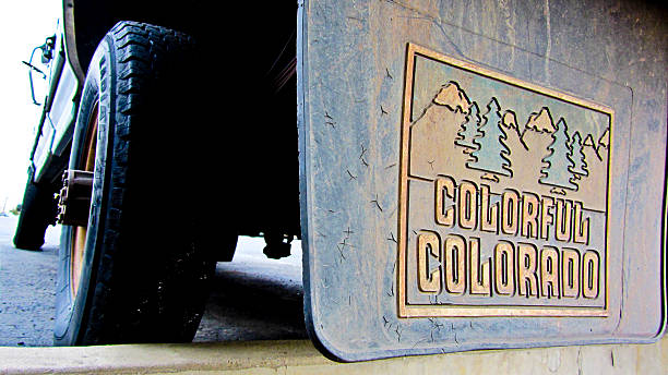 Colorful Colorado Mud Flaps stock photo