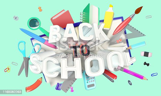 istock colorful composition with school related objects and Back-to-School text 1165082263