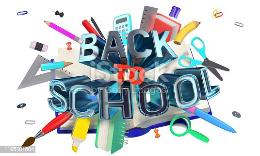 istock colorful composition with school related objects and Back-to-School text 1165101504