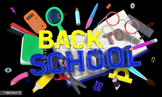 istock colorful composition with school related objects and Back-to-School text 1165104172