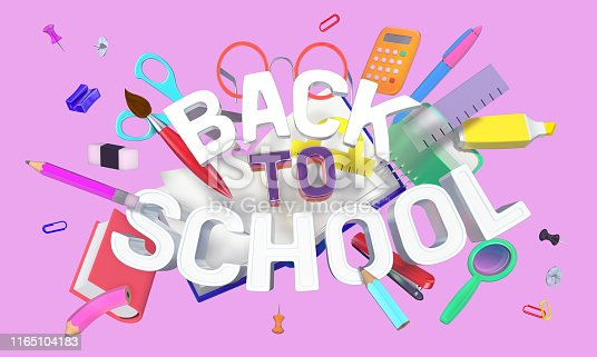 istock colorful composition with school related objects and Back-to-School text 1165104183