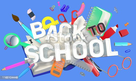 istock colorful composition with school related objects and Back-to-School text 1165104448