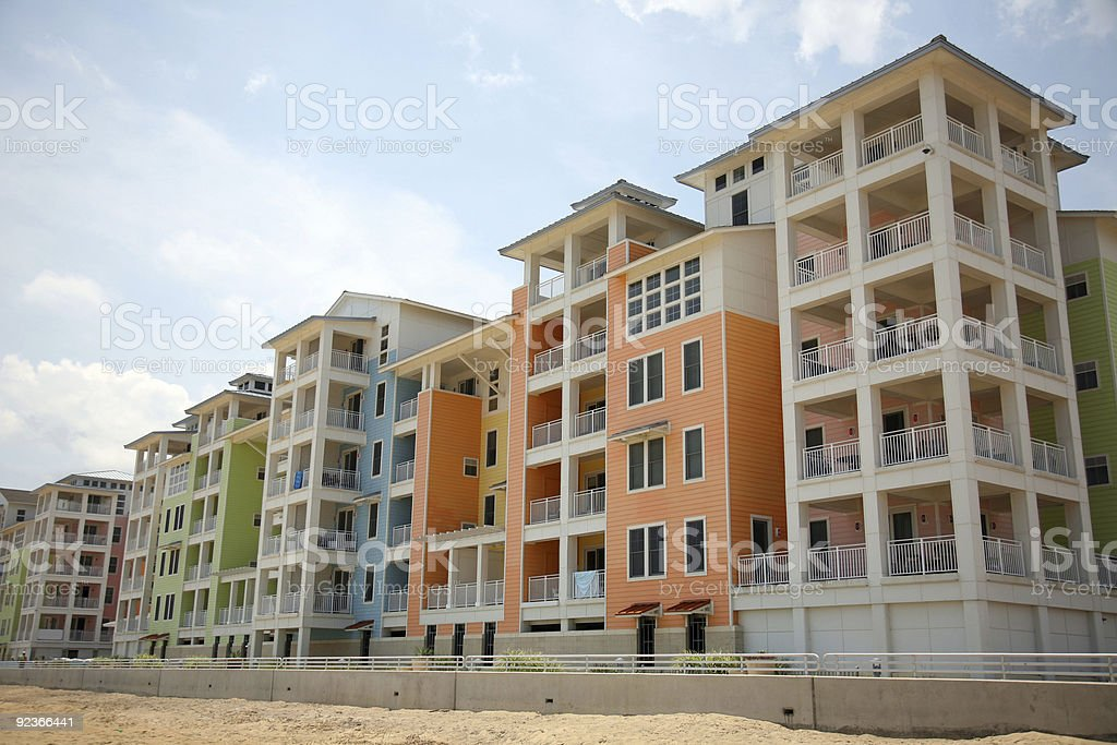 Colorful condos on the beach stock photo