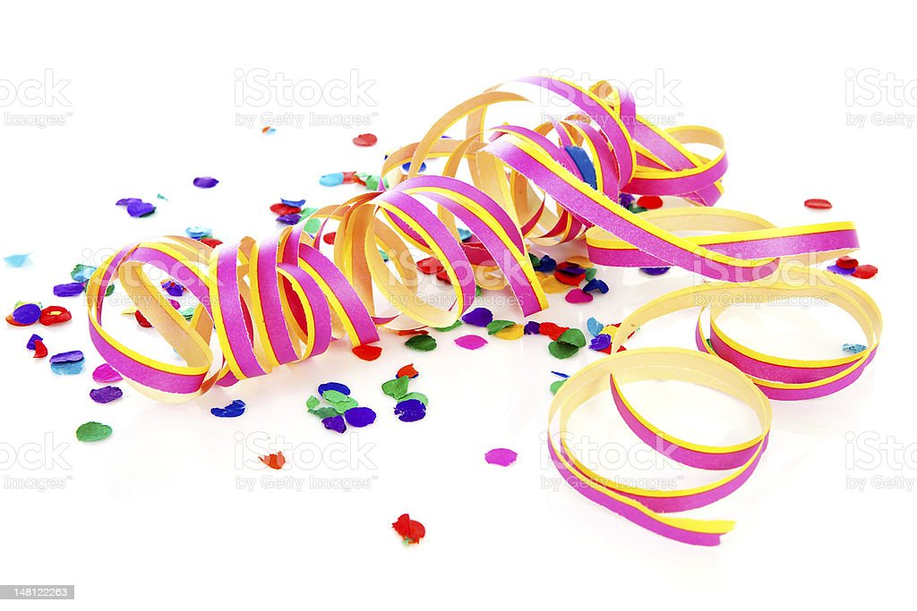 Colorful confetti and party streame royalty-free stock photo