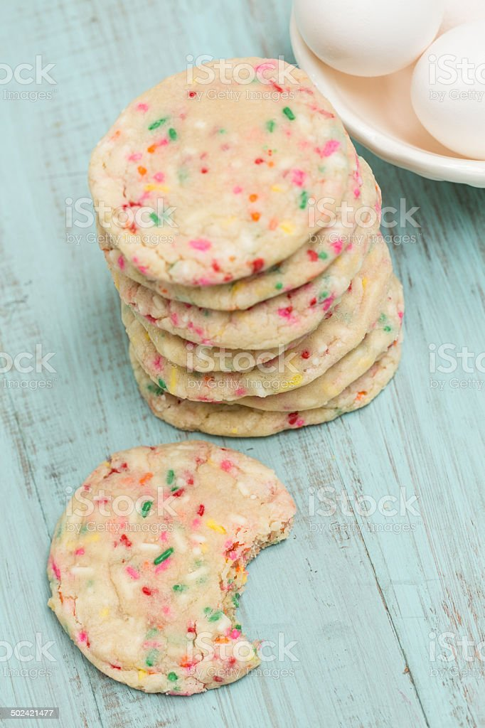 Colorful Confetti Cookies With Eggs stock photo