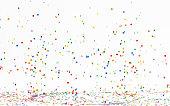Colorful Confetti Falling On White