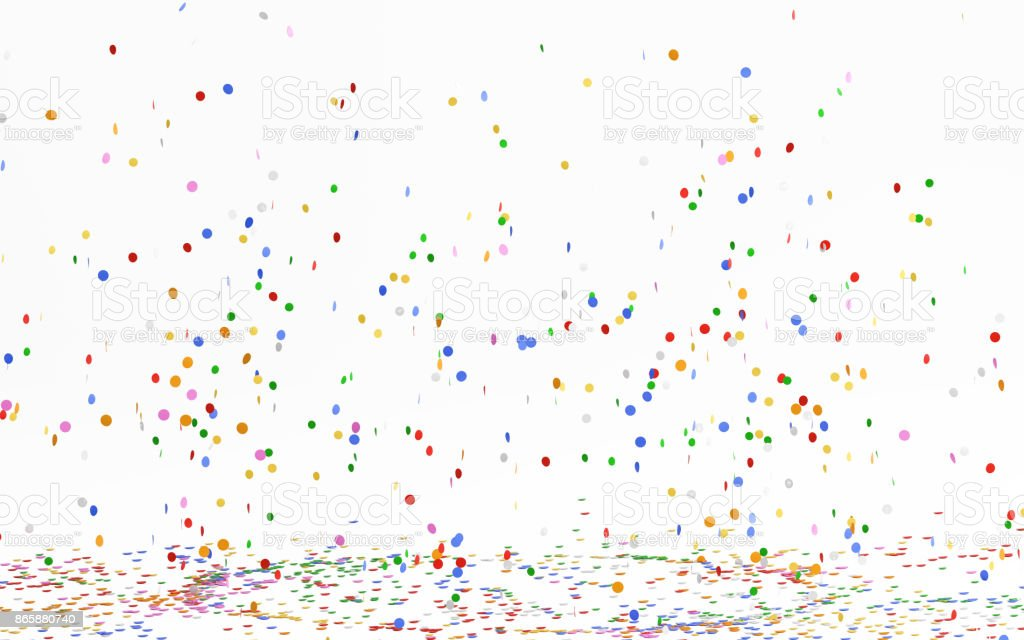 Colorful Confetti Falling On White stock photo